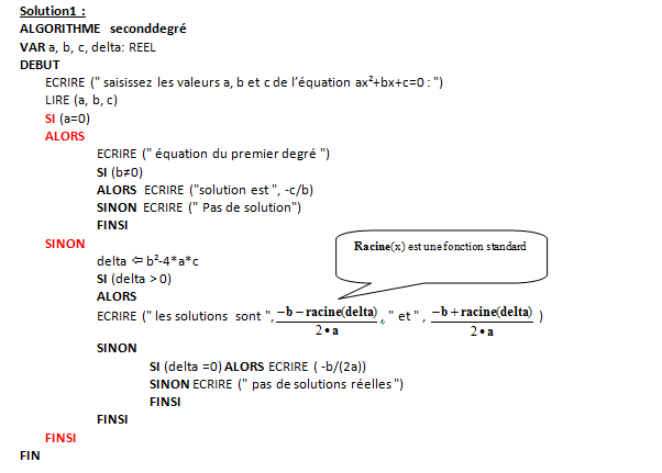 Initiation Algorithmique Correction Liste Td 1
